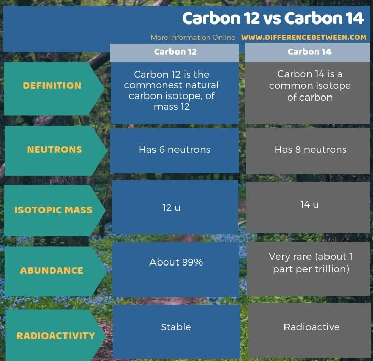Difference Between Carbon 12 and Carbon 14 in Tabular Form