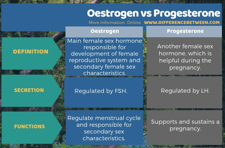 Difference Between Oestrogen and Progesterone in Tabular Form