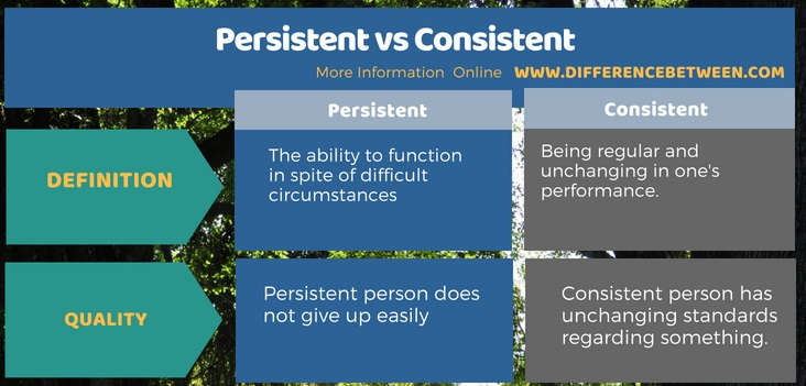 Difference Between Persistent and Consistent - Tabular Format