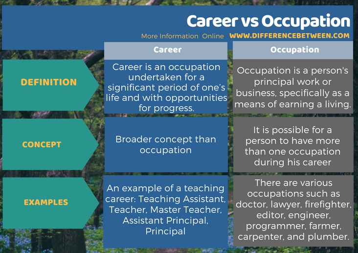 Difference Between Career and Occupation in Tabular Form