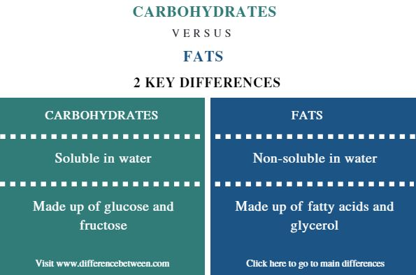 Difference Between Carbohydrates and Fats- Comparison Summary