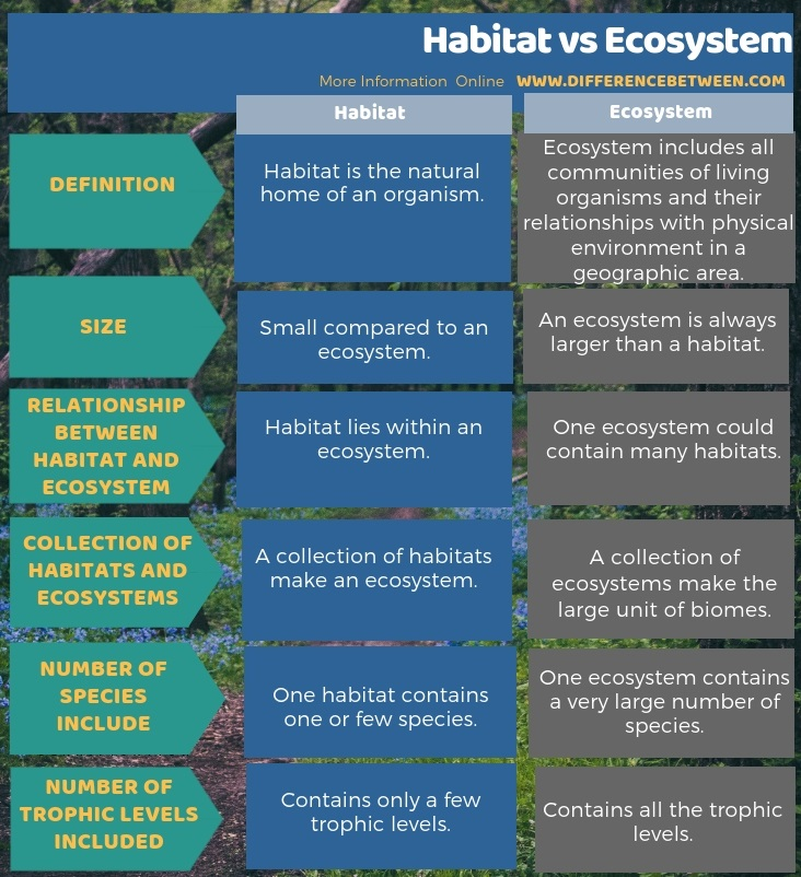 Difference Between Habitat and Ecosystem in Tabular Form