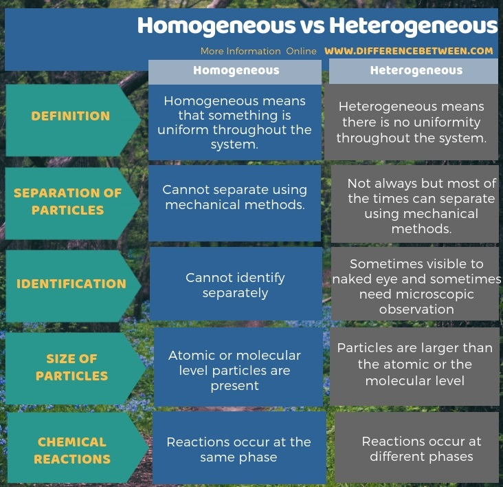 Difference Between Homogeneous and Heterogeneous in Tabular Form