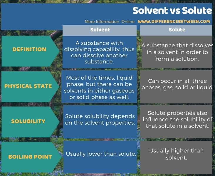 Difference Between Solvent and Solute in Tabular Form