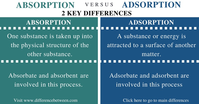 Difference Between Absorption and Adsorption - Comparison Summary