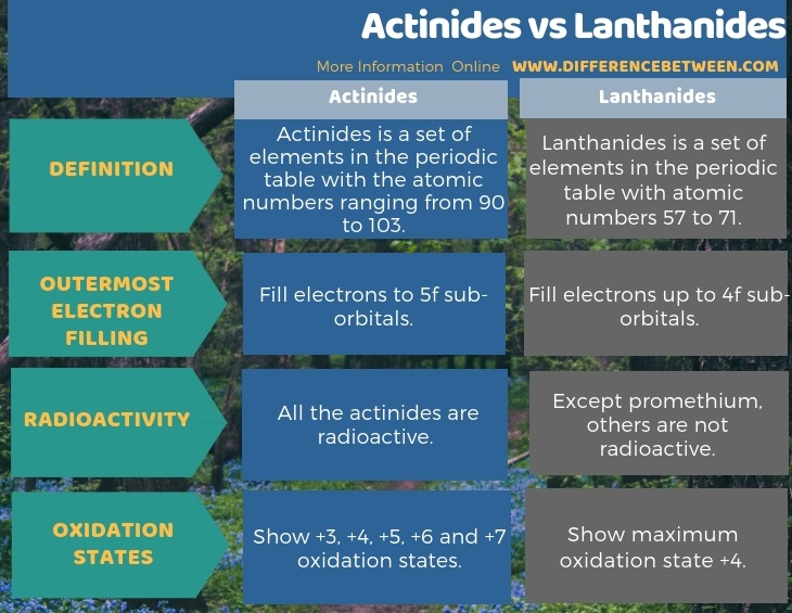 Difference Between Actinides and Lanthanides in Tabular Form