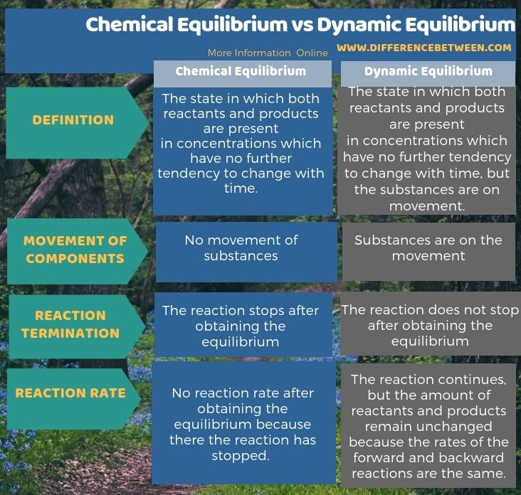 Difference Between Chemical Equilibrium and Dynamic Equilibrium in Tabular Form