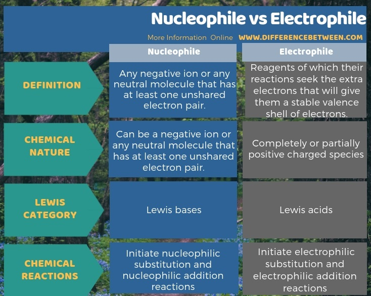Difference Between Nucleophile and Electrophile in Tabular Form