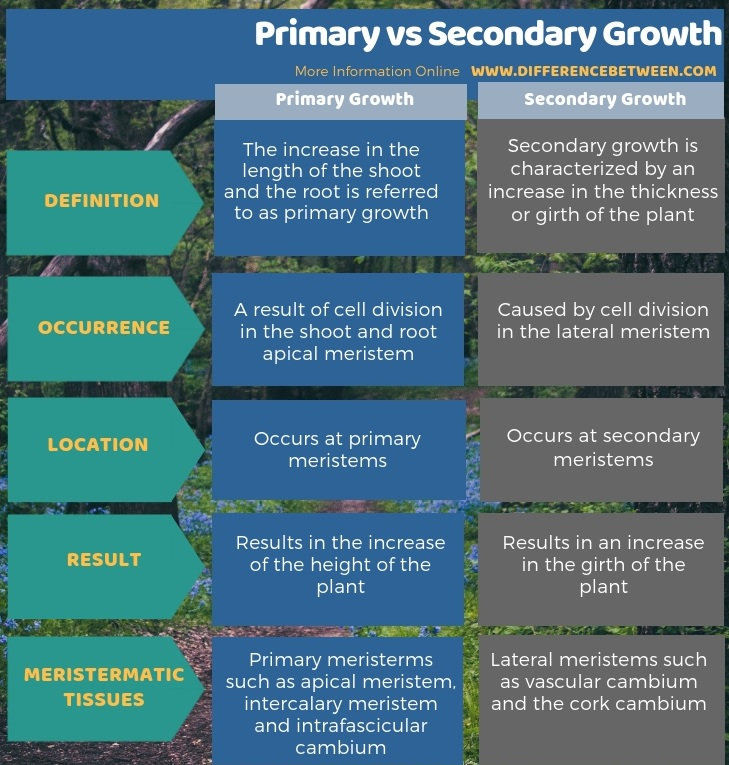 Difference Between Primary and Secondary Growth - Tabular Form
