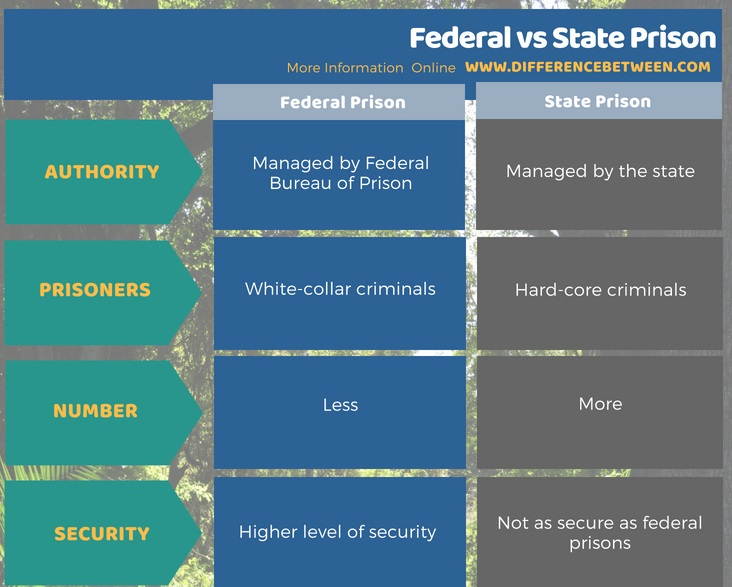 Difference Between Federal and State Prison in Tabular Format