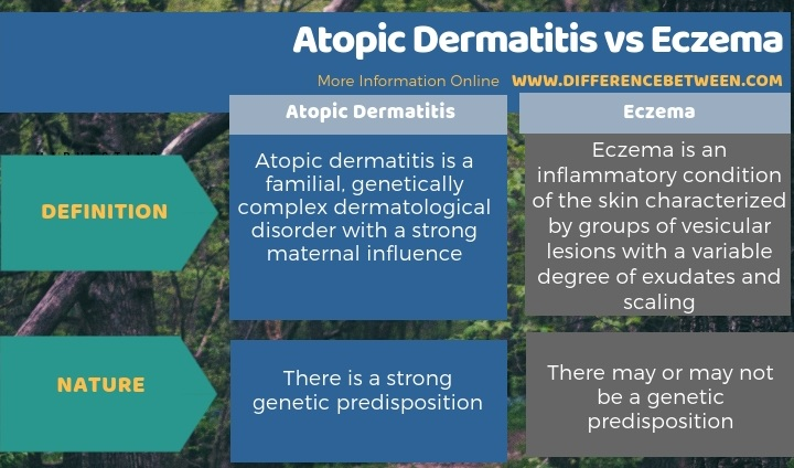 Difference Between Atopic Dermatitis and Eczema - Tabular Form