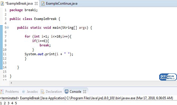 Difference Between break and continue in Java