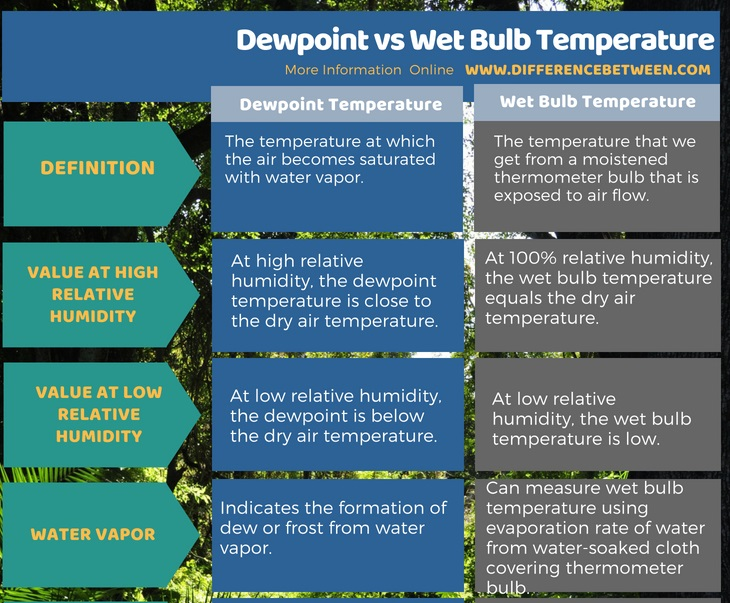 Difference Between Dewpoint and Wet Bulb Temperature in Tabular Form