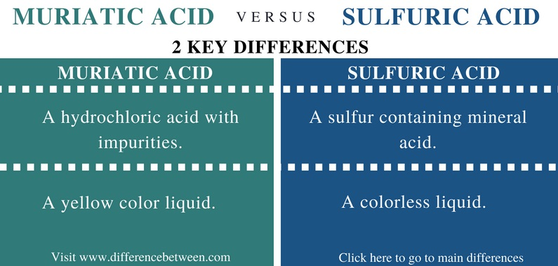 Difference Between Muriatic and Sulfuric Acid - Comparison Summary