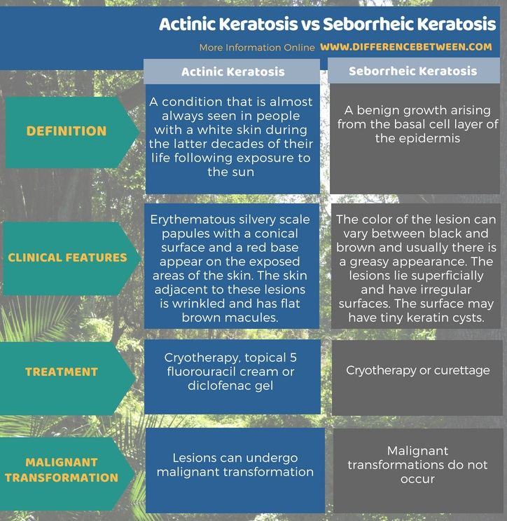 Difference Between Actinic Keratosis and Seborrheic Keratosis in Tabular Form