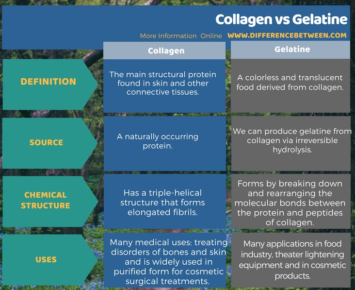 Difference Between Collagen and Gelatine in Tabular Form