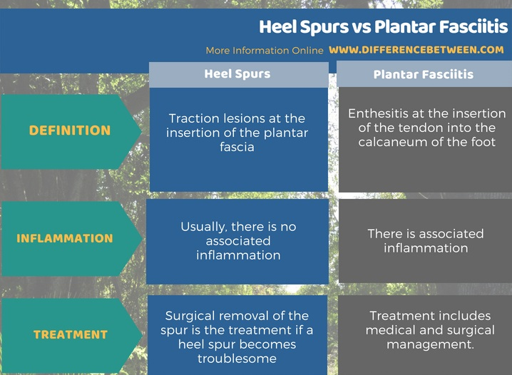 Difference Between Heel Spurs and Plantar Fasciitis in Tabular Form