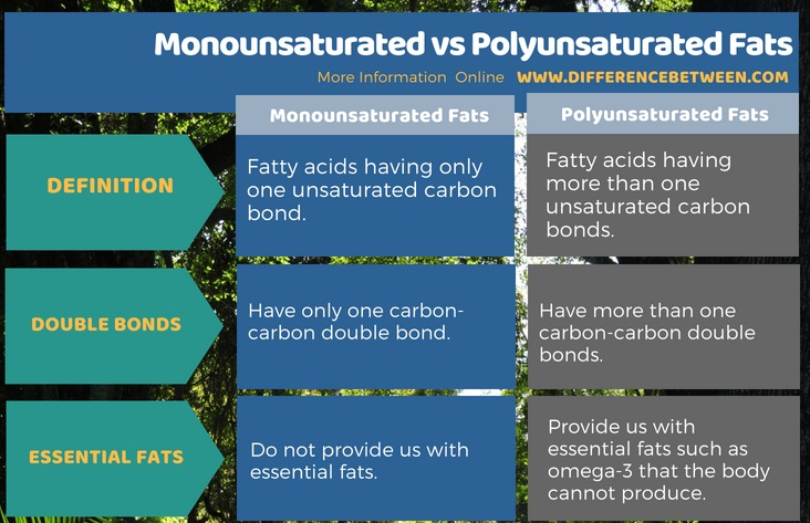 Difference Between Monounsaturated and Polyunsaturated Fats in Tabular Form