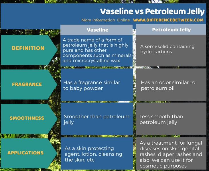 Difference Between Vaseline and Petroleum Jelly in Tabular Form