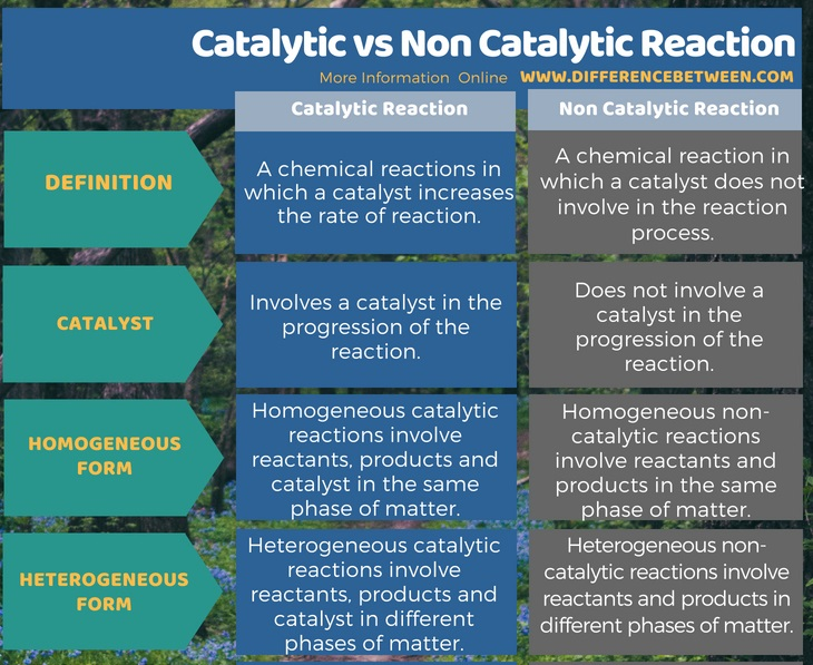 Difference Between Catalytic and Non Catalytic Reaction in Tabular Form