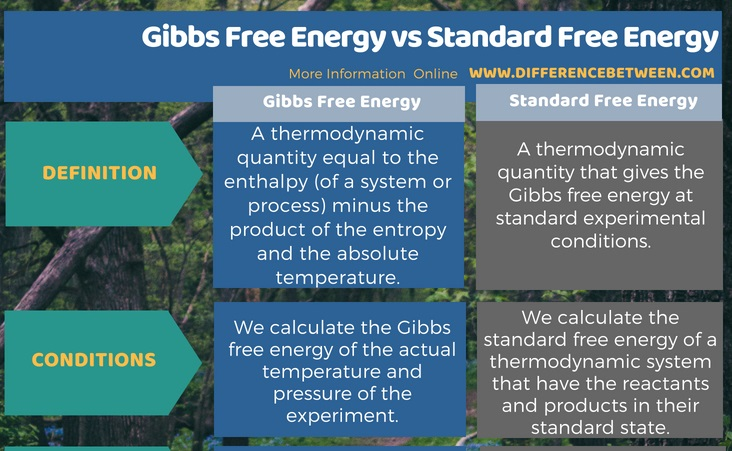 Difference Between Gibbs Free Energy and Standard Free Energy in Tabular Form