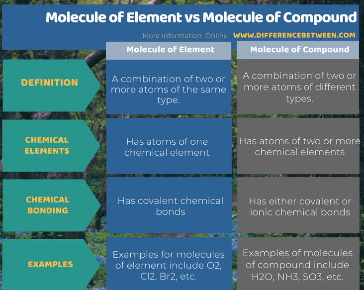 Difference Between Molecule of Element and Molecule of Compound in Tabular Form