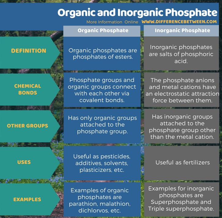 Difference Between Organic and Inorganic Phosphate in Tabular Form