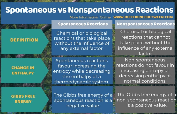 Difference Between Spontaneous and Nonspontaneous Reactions in Tabular Form