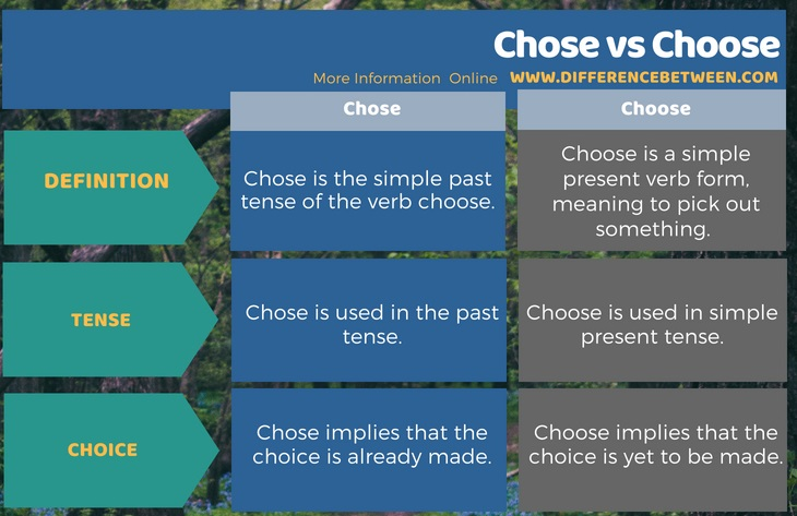 Difference Between Chose And Choose Compare The Difference Between Similar Terms