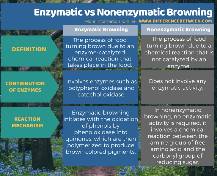 Difference Between Enzymatic and Nonenzymatic Browning in Tabular Form