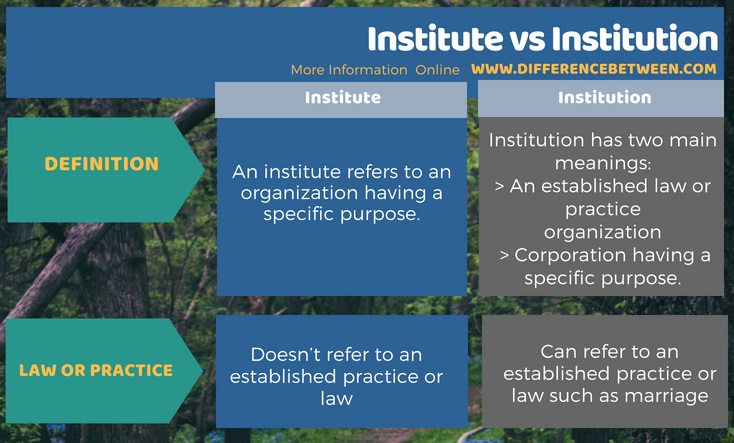 Difference Between Institute and Institution in Tabular Form