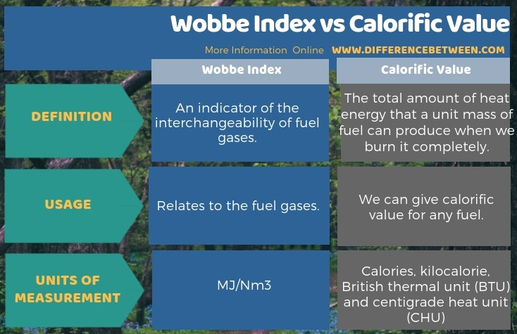 Difference Between Wobbe Index and Calorific Value in Tabular Form
