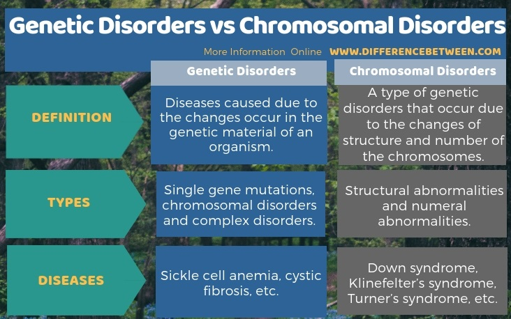 Difference Between Genetic Disorders and Chromosomal Disorders in Tabular Form