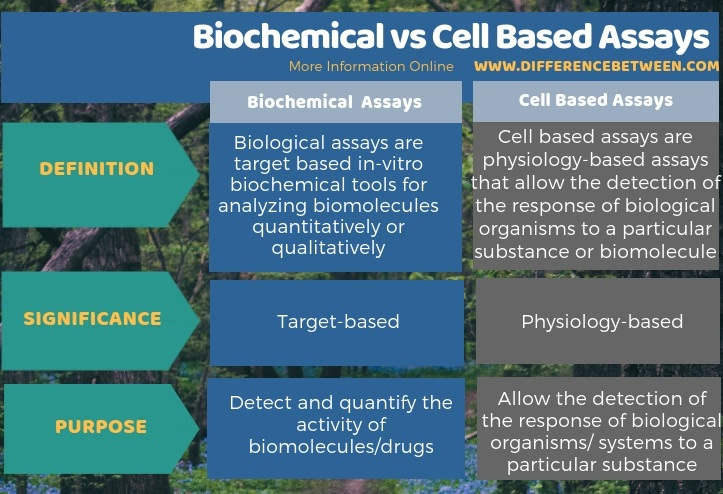 Difference Between Biochemical and Cell Based Assays - Tabular Form