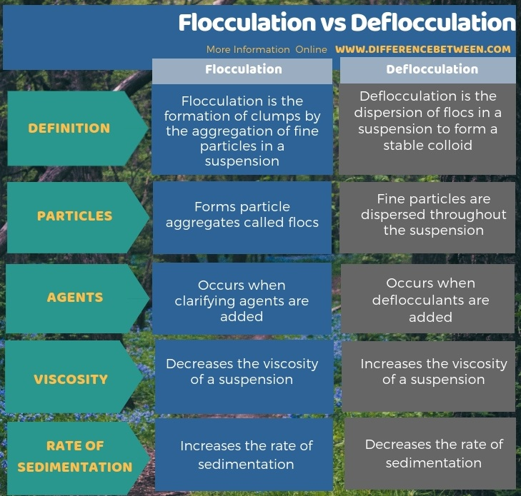 Difference Between Flocculation and Deflocculation in Tabular Form