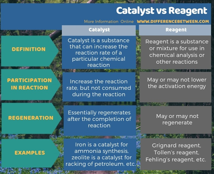 Difference Between Catalyst and Reagent in Tabular Form