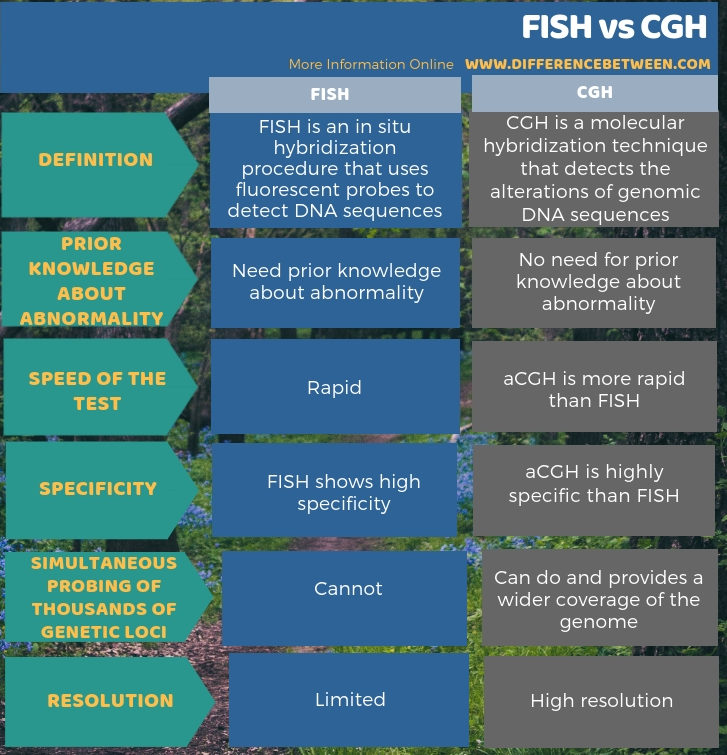 Difference Between FISH and CGH in Tabular Form