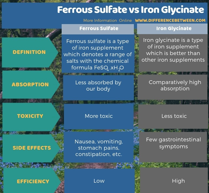 Difference Between Ferrous Sulfate and Iron Glycinate in Tabular Form