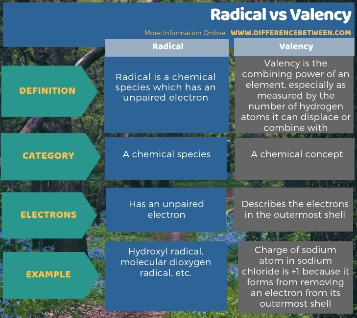 Difference Between Radical and Valency in Tabular Form