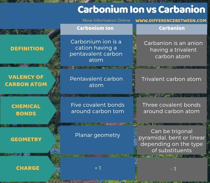 Difference Between Carbonium Ion and Carbanion in Tabular Form