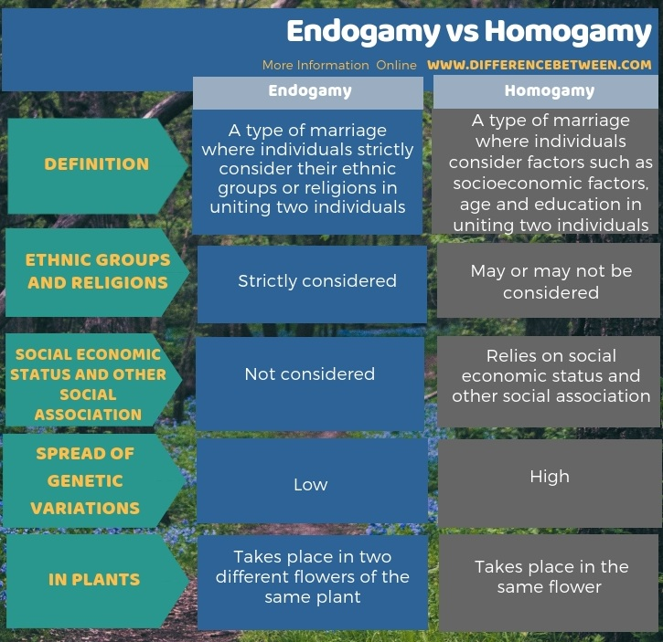 Difference Between Endogamy and Homogamy in Tabular Form