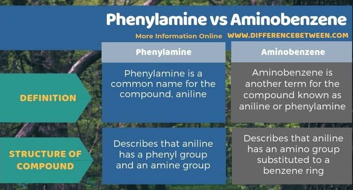 Difference Between Phenylamine and Aminobenzene in Tabular Form