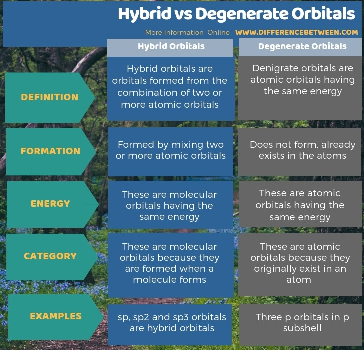 Difference Between Hybrid and Degenerate Orbitals in Tabular Form