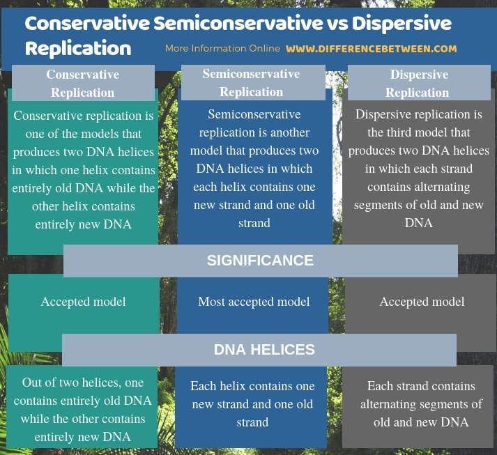 Difference Between Conservative Semiconservative and Dispersive Replication in Tabular Form