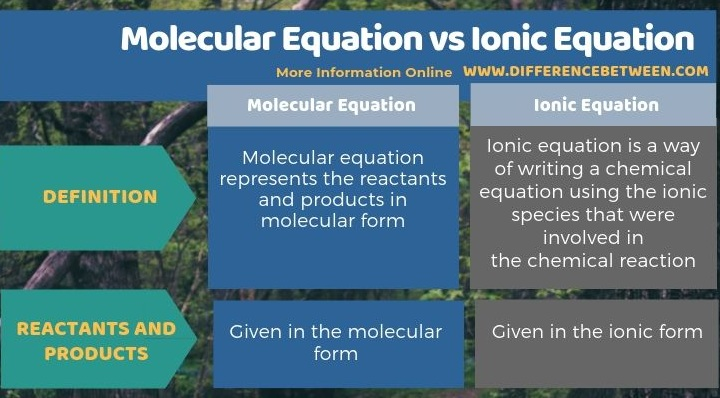 Difference Between Molecular Equation and Ionic Equation in Tabular Form