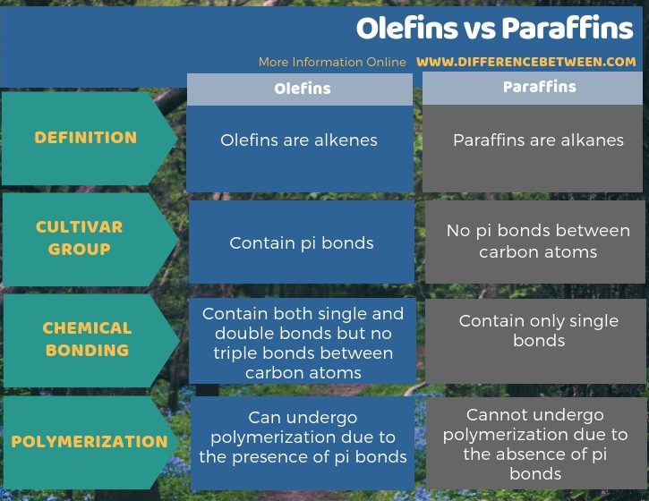 Difference Between Olefins and Paraffins in Tabular Form