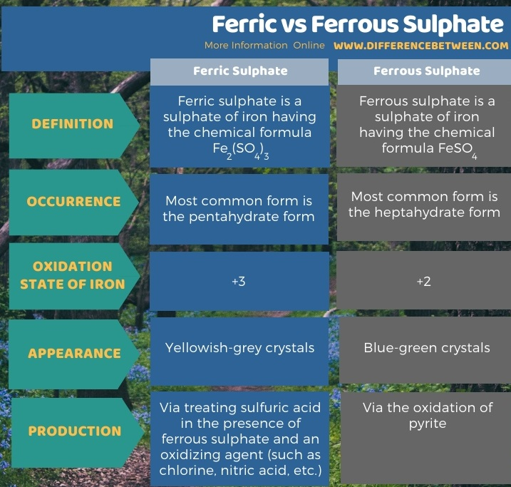 Difference Between Ferric and Ferrous Sulphate -Tabular Form