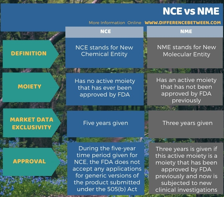 Difference Between NCE and NME in Tabular Form