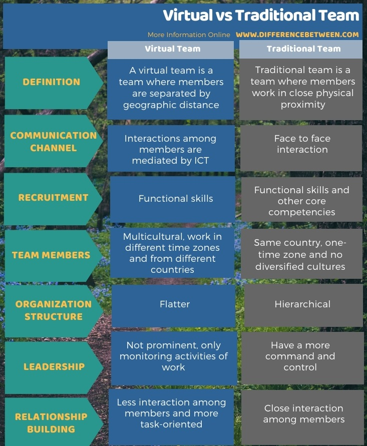 Difference Between Virtual and Traditional Team in Tabular Form