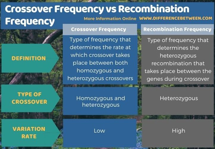 Difference Between Crossover Frequency and Recombination Frequency in Tabular Form
